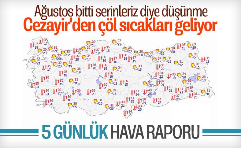 Türkiye'de 5 günlük hava durumu