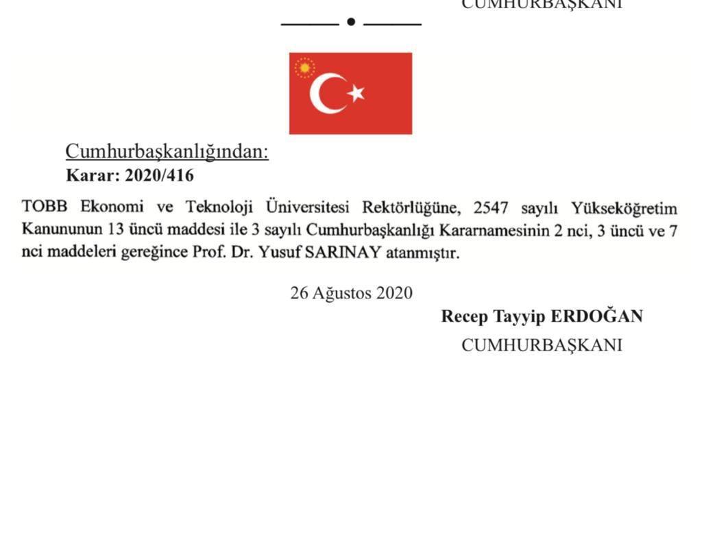 TOBB Ekonomi ve Teknoloji Üniversitesi rektörlüğüne Prof. Dr. Yusuf Sarınay atandı #1