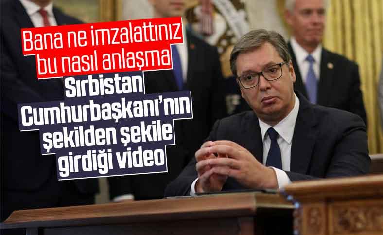Trump'ın açıklaması sırasında Sırbistan Cumhurbaşkanı'nın hareketleri dikkat çekti