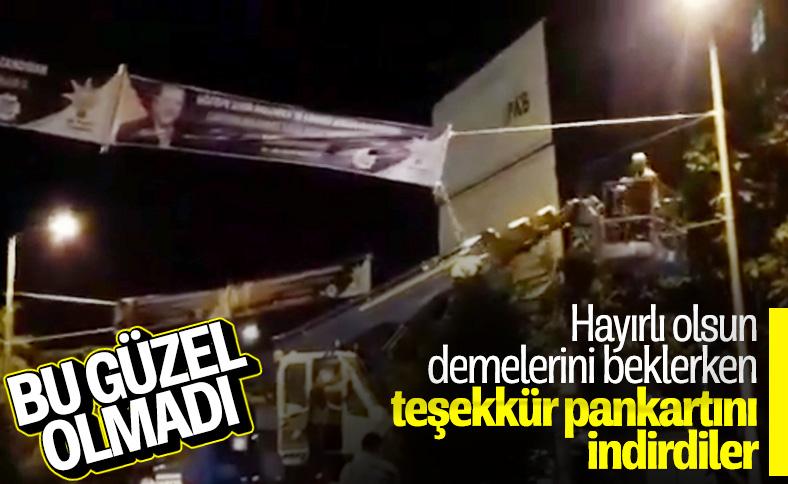 İBB zabıtaları Göztepe Şehir Hastanesi için asılan pankartları kesti