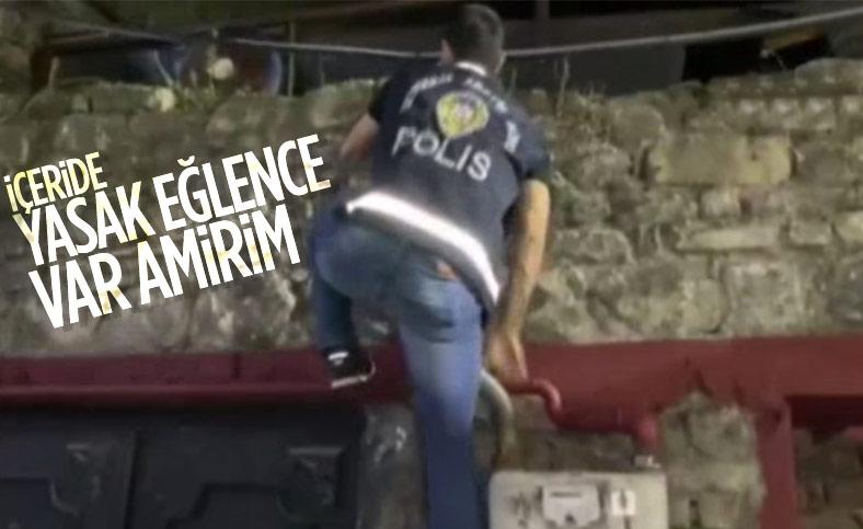 Beyoğlu'nda polis eğlence mekanına tırmanarak girdi