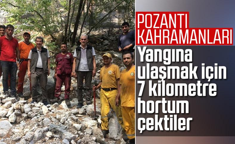 Pozantı'daki yangını 7 kilometrelik hortumla kontrol altına aldılar