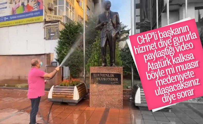 CHP'li Maltepe Belediye Başkanı Ali Kılıç, Atatürk heykelini yıkadı