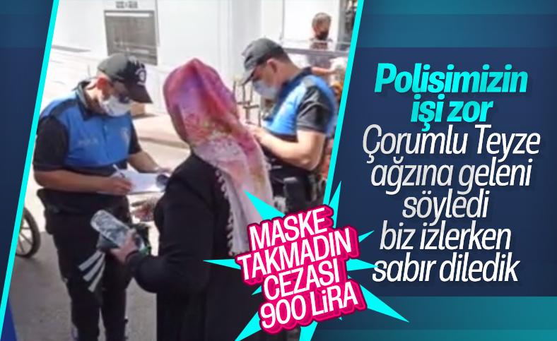 Çorum'da maske takmayan kadın, polisle tartıştı