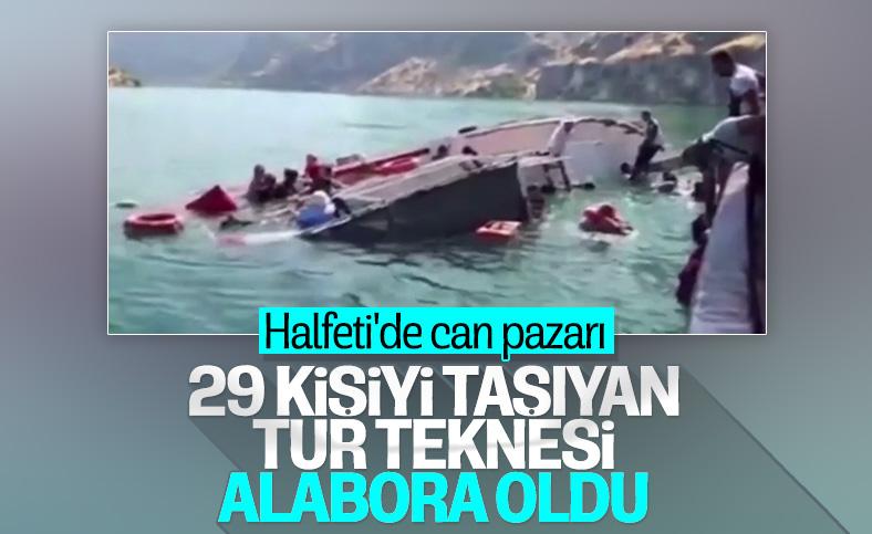 Şanlıurfa'da tur teknesinin alabora olduğu anlar