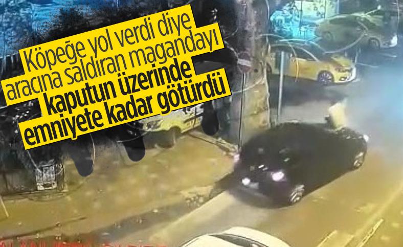 Bursa'da otomobiline saldıran şahsı ön kaput üzerinde emniyete götürdü
