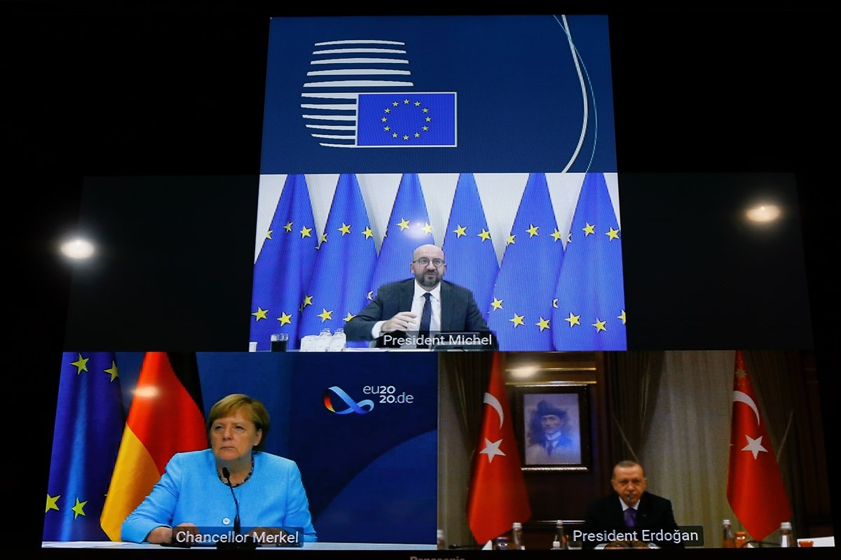 Cumhurbaşkanı Erdoğan, AB Konseyi Başkanı Michel ve Merkel le görüştü  #1