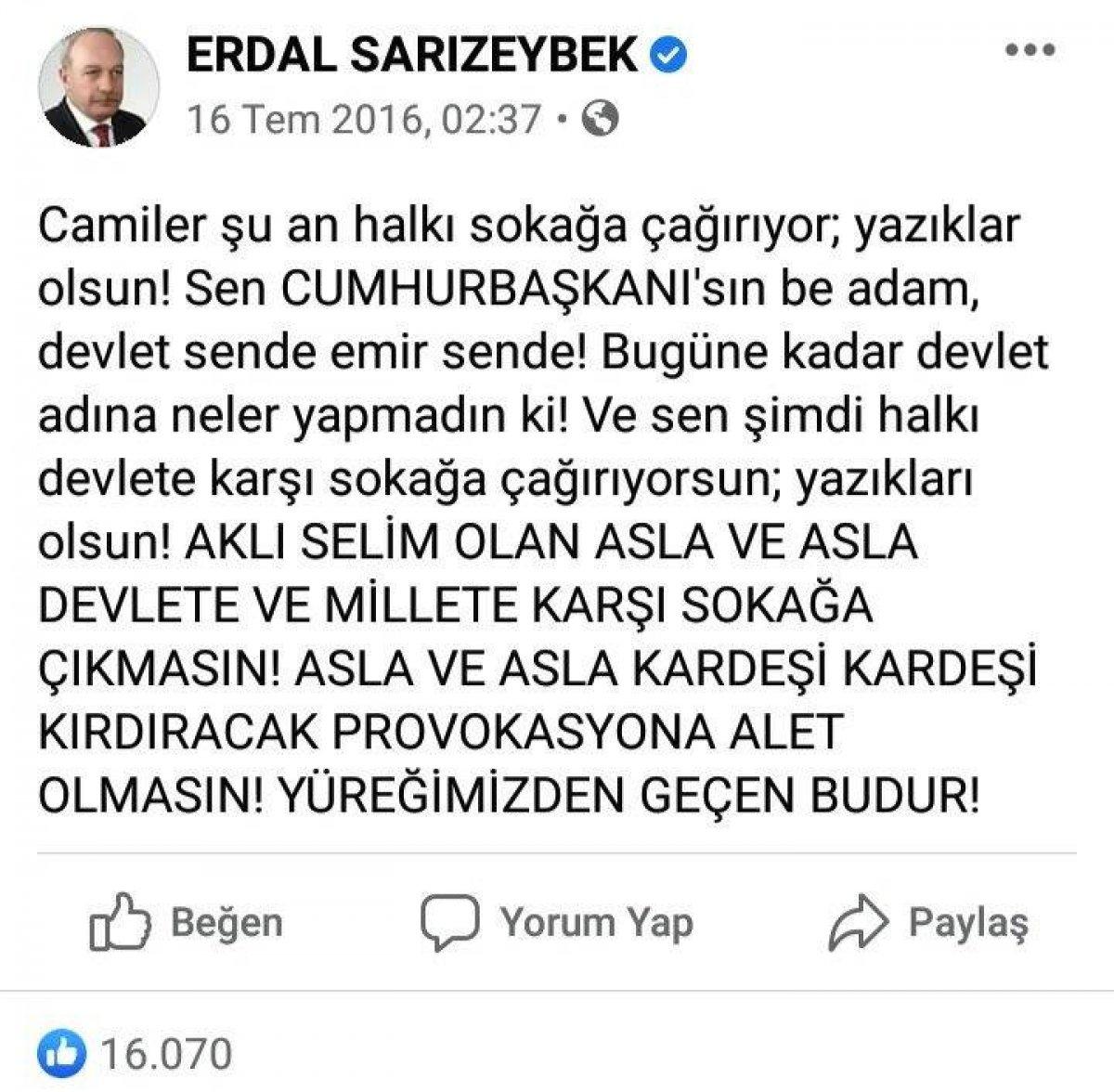 İYİ Parti yönetimine giren Erdal Sarızeybek kimdir? Erdal Sarızeybek in 15 Temmuz gecesi paylaşımları #1