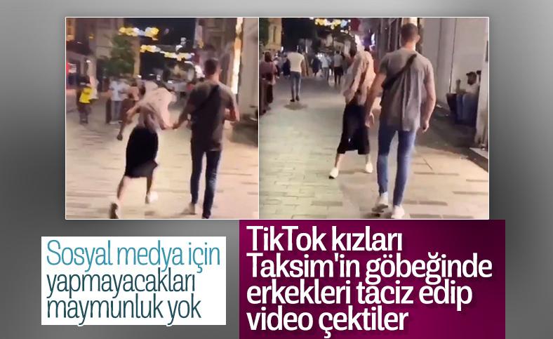 Taksim'de tanımadığı erkeklerin elini tutan kızlar