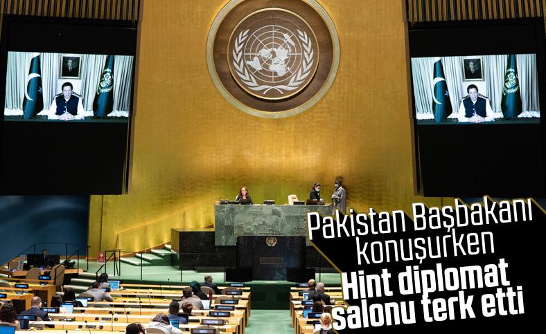 BM toplantısında Pakistan Başbakanı konuşurken, Hint diplomat salonu terk etti