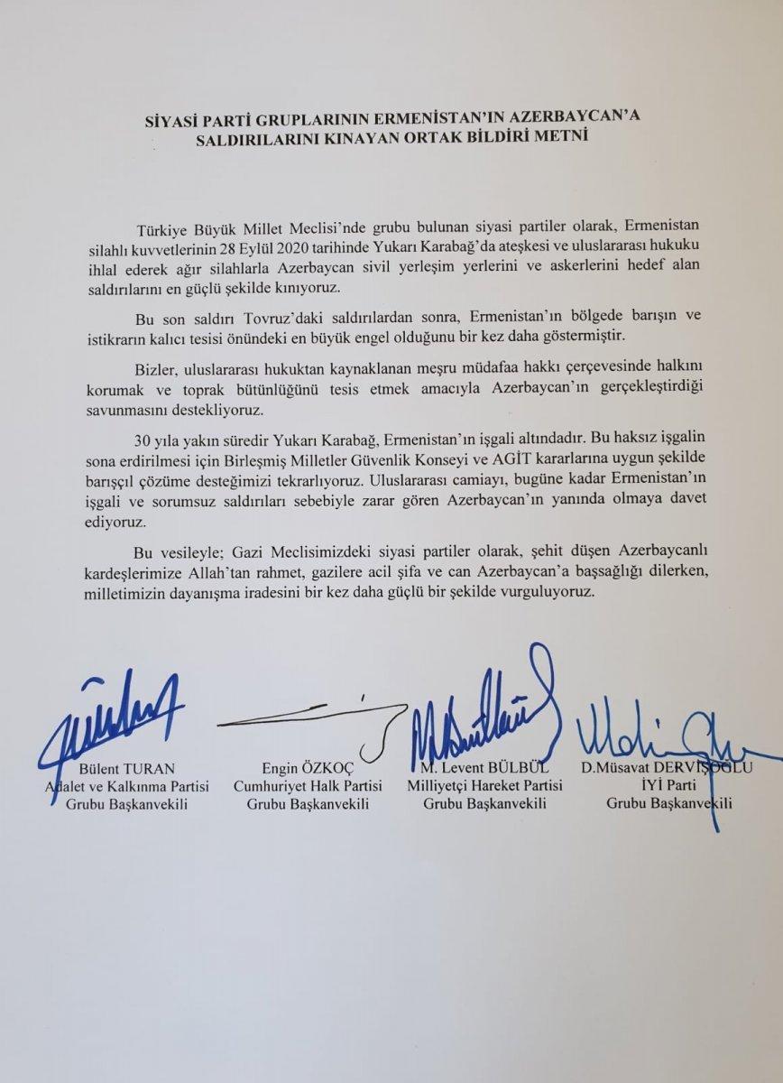 Meclis ten Ermenistan a ortak tepki #1