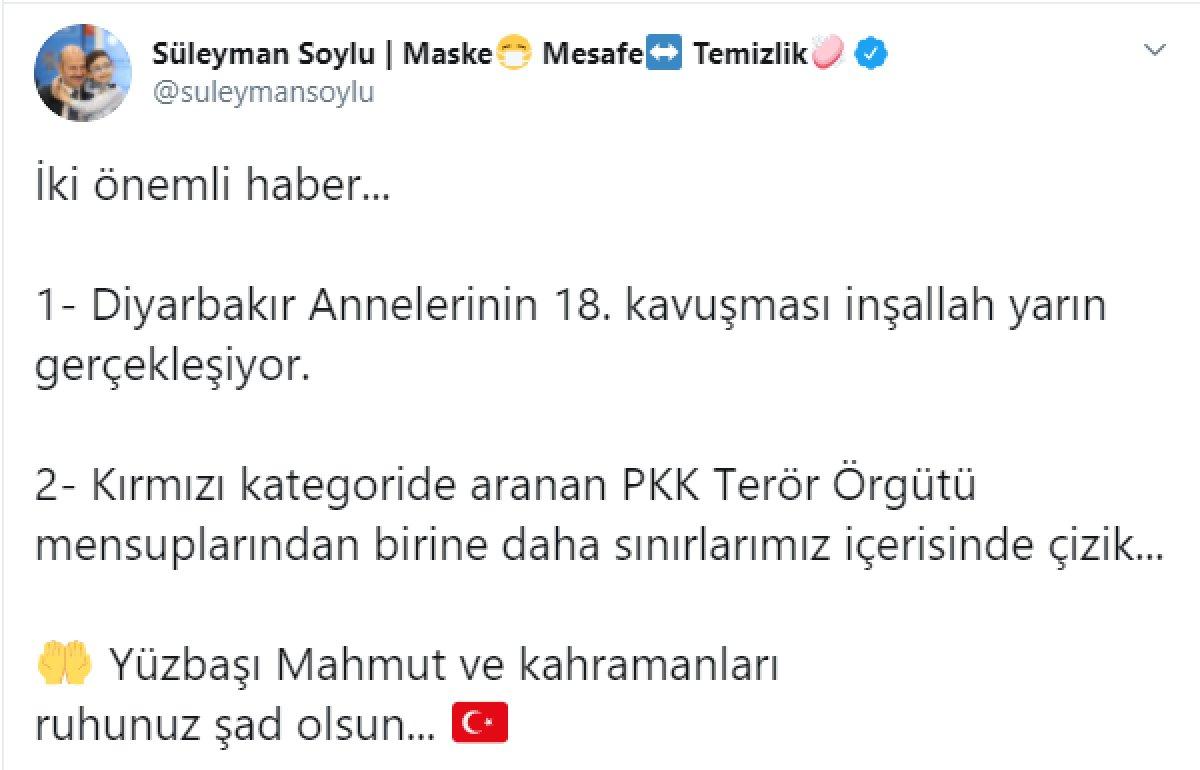 Bakan Süleyman Soylu duyurdu: Kırmızı kategoride aranan terörist etkisiz hale getirildi #1