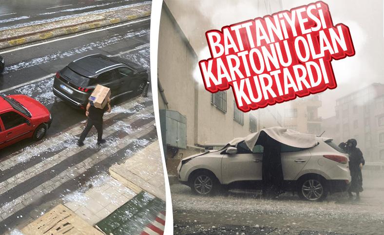 İstanbul'da etkili olan dolu araçlara zarar verdi