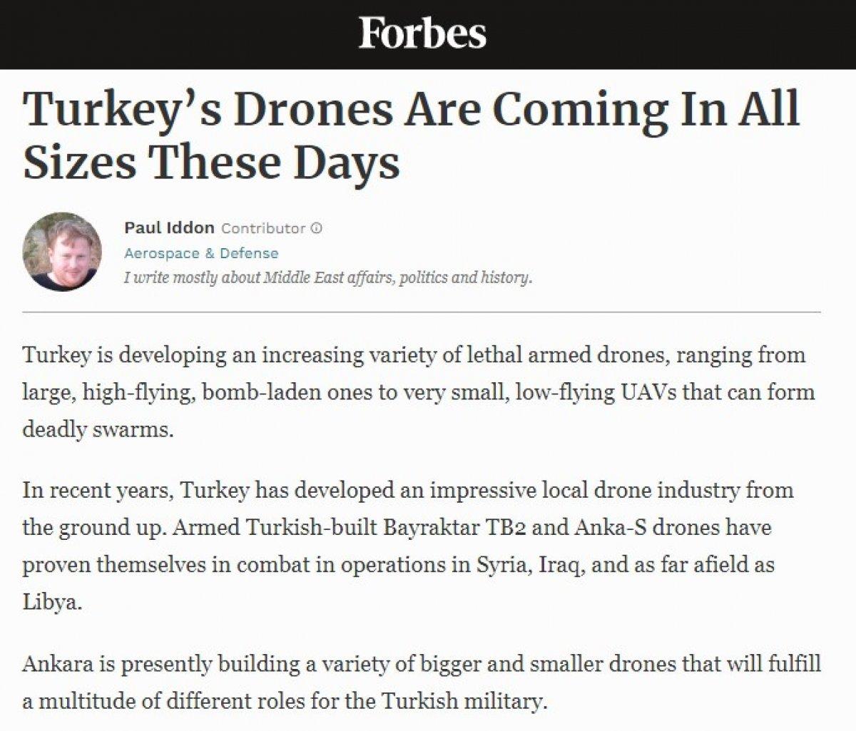 Türk drone larının başarısı Forbes'un gündeminde #1