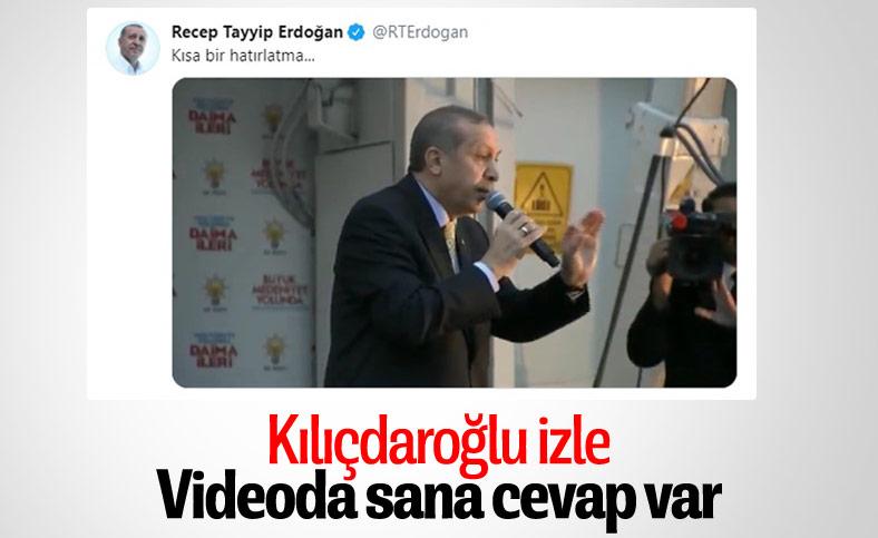 Erdoğan'dan 'Kısa bir hatırlatma' notuyla Kılıçdaroğlu'na cevap