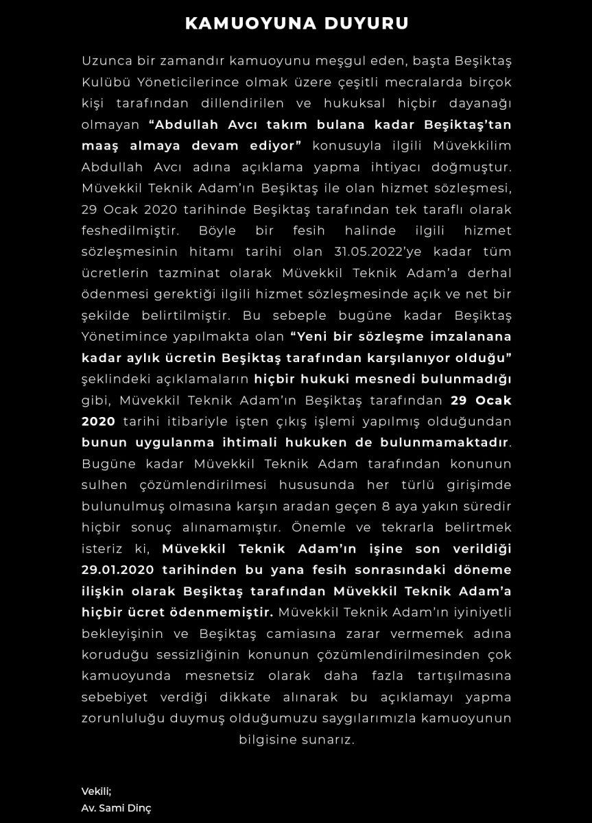 Abdullah Avcı nın avukatı: Beşiktaş hiç ödeme yapmadı #2