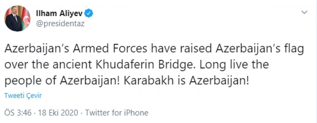 Azerbaycan Cumhurbaşkanı İlham Aliyev: Azerbaycan, eski Hudaferin Köprüsü nde bayrağını göndere çekti #1