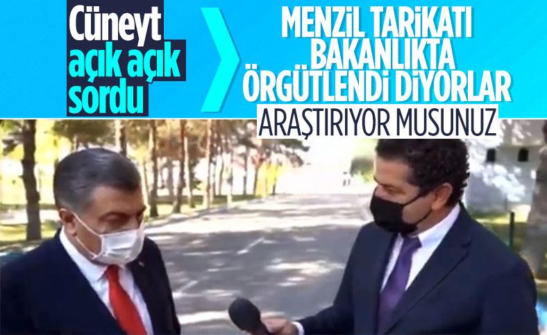 Cüneyt Özdemir'den Fahrettin Koca'ya Menzil tarikatı sorusu