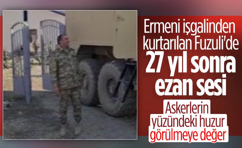 Dağlık Karabağ'da ezan sesini duyan asker