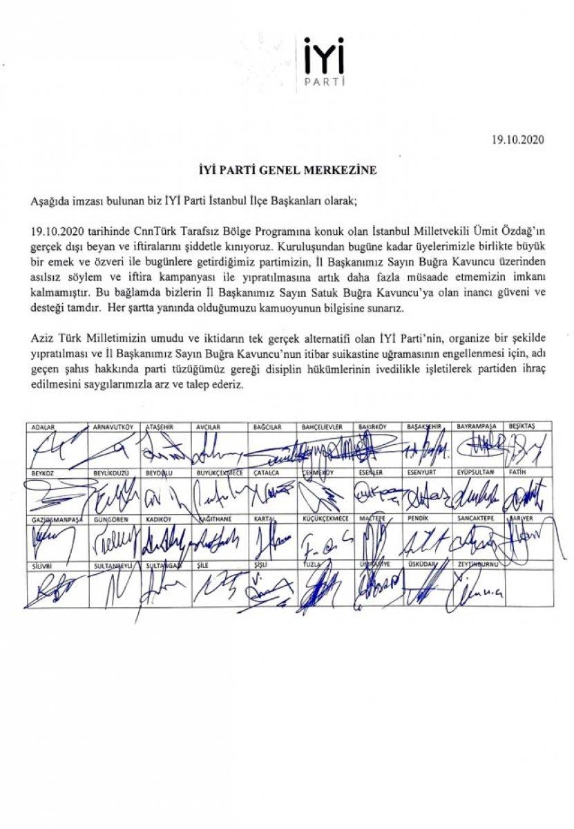 İyi Parti İstanbul ilçe başkanları, Ümit Özdağ ın partiden ihraç edilmesini istedi #1
