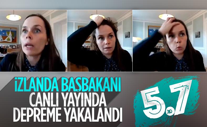 İzlanda Başbakanı Katrin Jakobsdottir canlı yayındayken deprem oldu