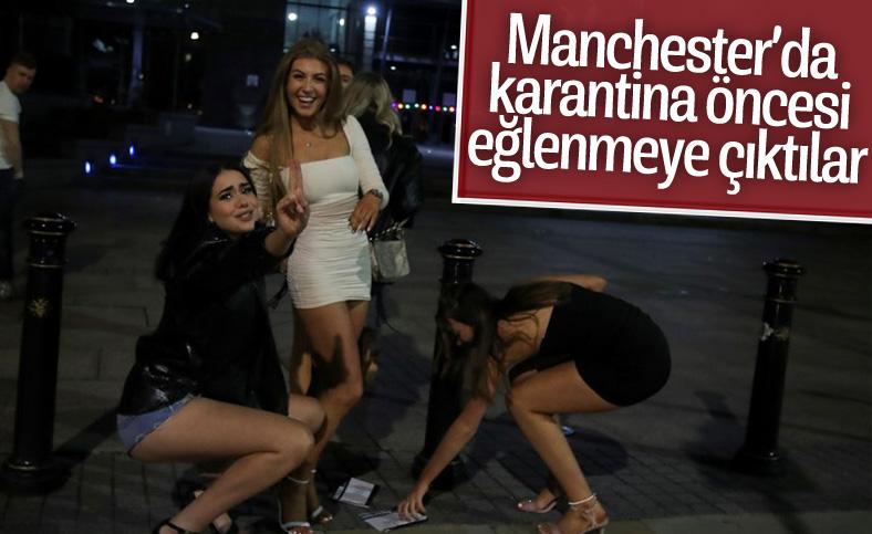 Manchester'da karantina öncesi insanlar eğlenmeye çıktı