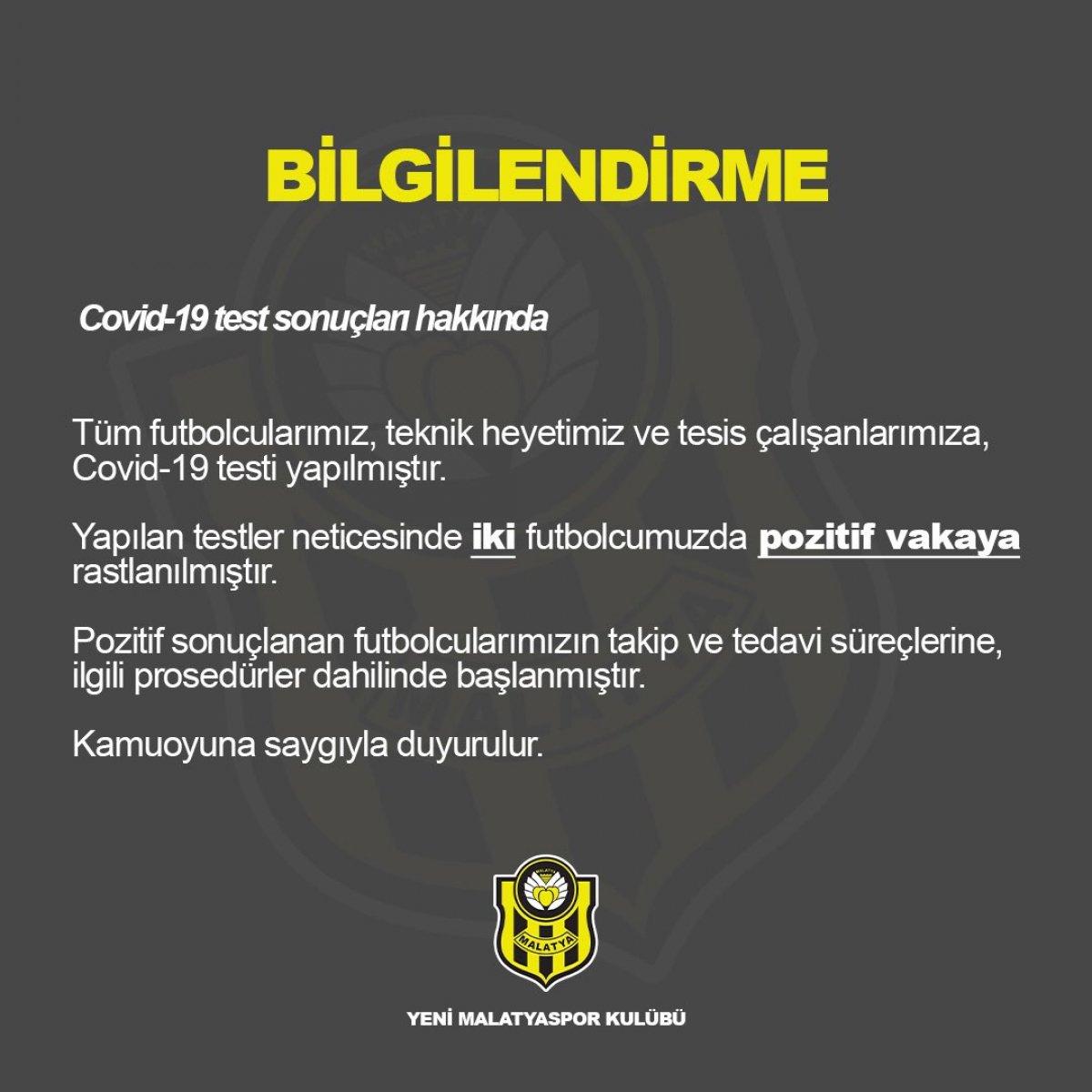 Yeni Malatyaspor'da 2 futbolcunun koronavirüs testi pozitif çıktı #1