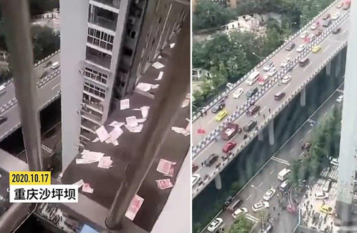 Çin de yoldan geçenlerin üzerine para yağdırma anı kamerada #2