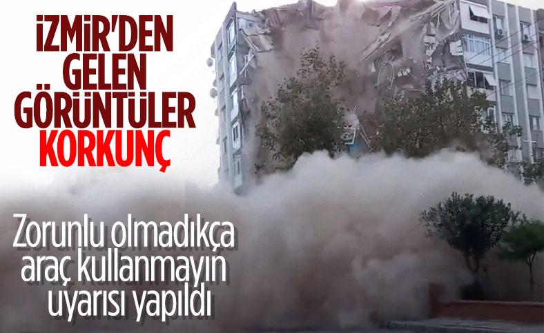İzmir'de 7 katlı binanın çöküş anı