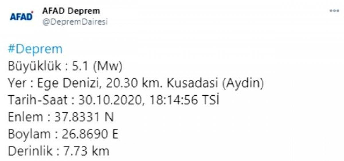Kuşadası nda 5.1 büyüklüğünde deprem #1