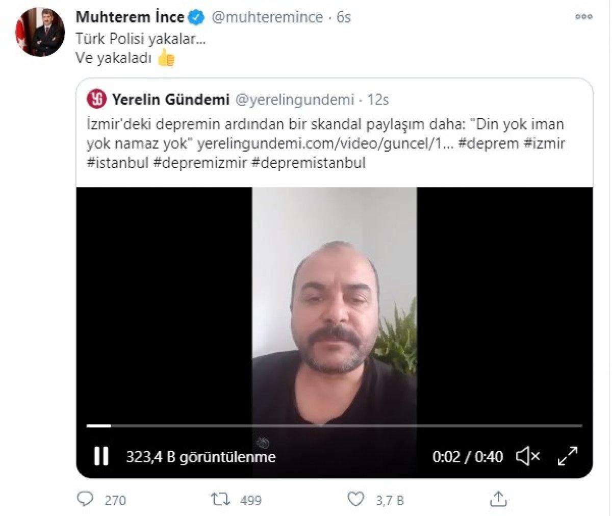 İzmir depremi için  felaketi kendileri istedi  şeklinde konuşan kişi yakalandı #1