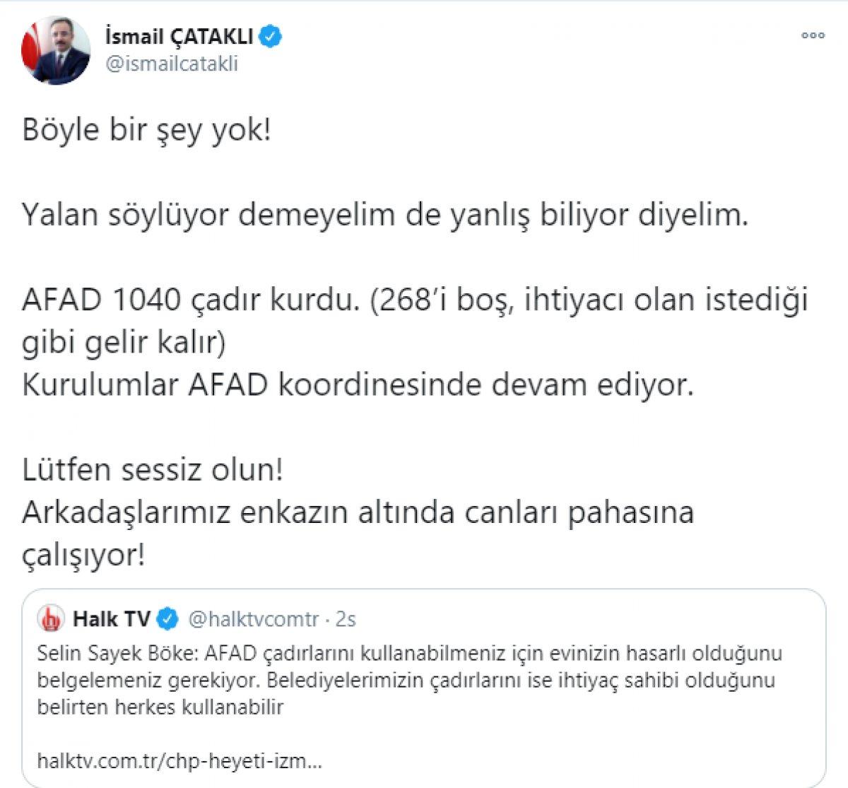 CHP li Böke nin AFAD çadırlarıyla ilgili iddiasına İçişleri ve AFAD dan cevap  #1