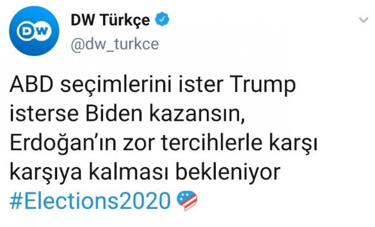 Deutsche Welle den ABD seçimlerinde Erdoğan paylaşımı #1
