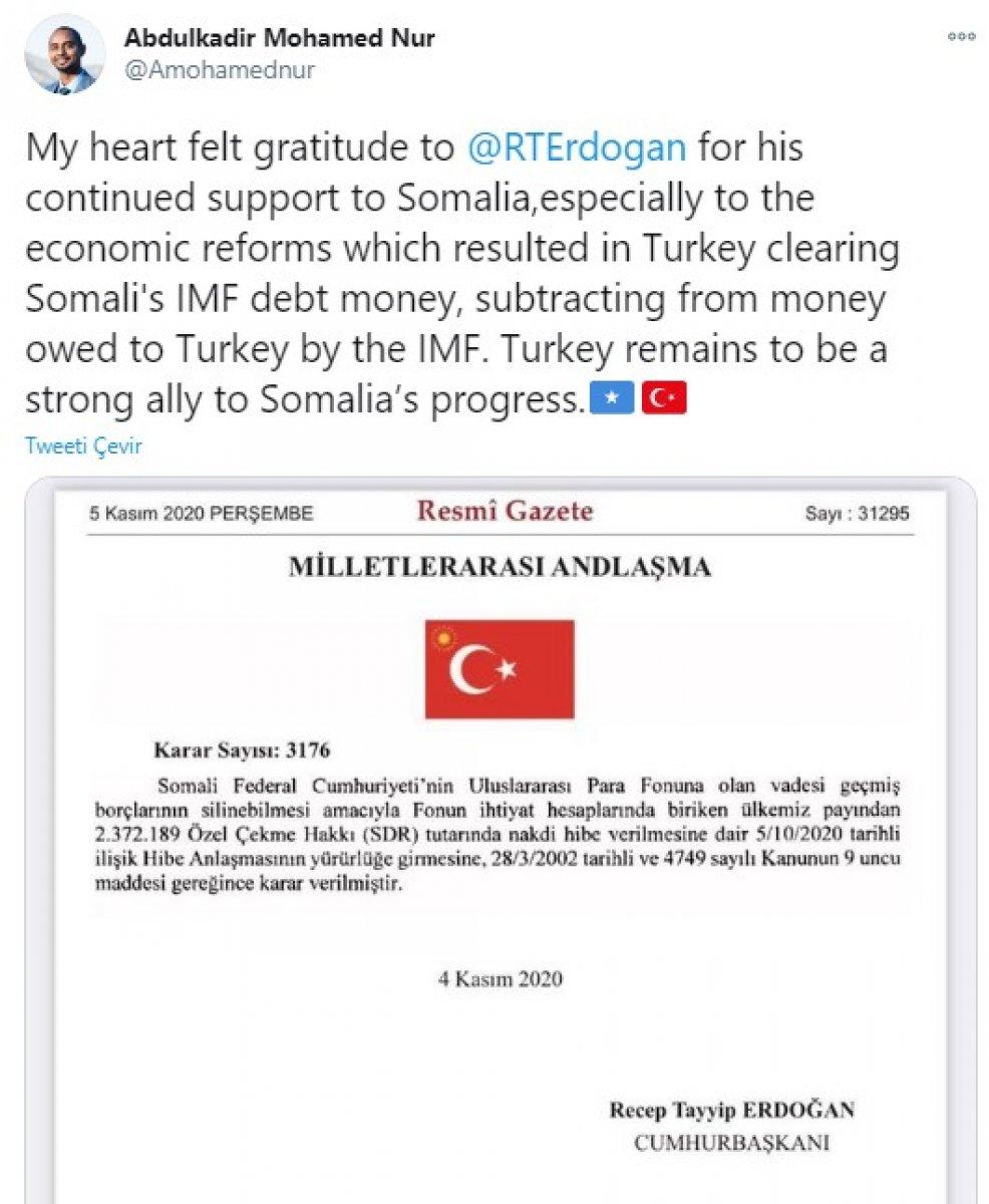 Türkiye, Somali nin IMF ye olan borcunu sildirdi #2