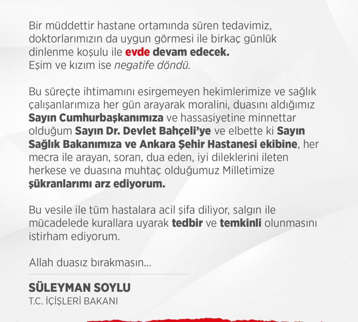 İçişleri Bakanı Süleyman Soylu: Tedavim evden devam edecek, eşim ve kızım negatif #1