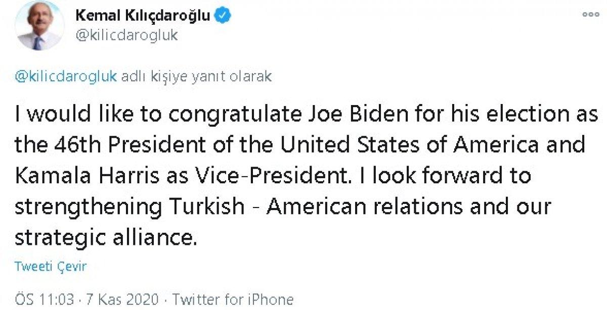 Kılıçdaroğlu ndan Joe Biden a kutlama mesajı #2