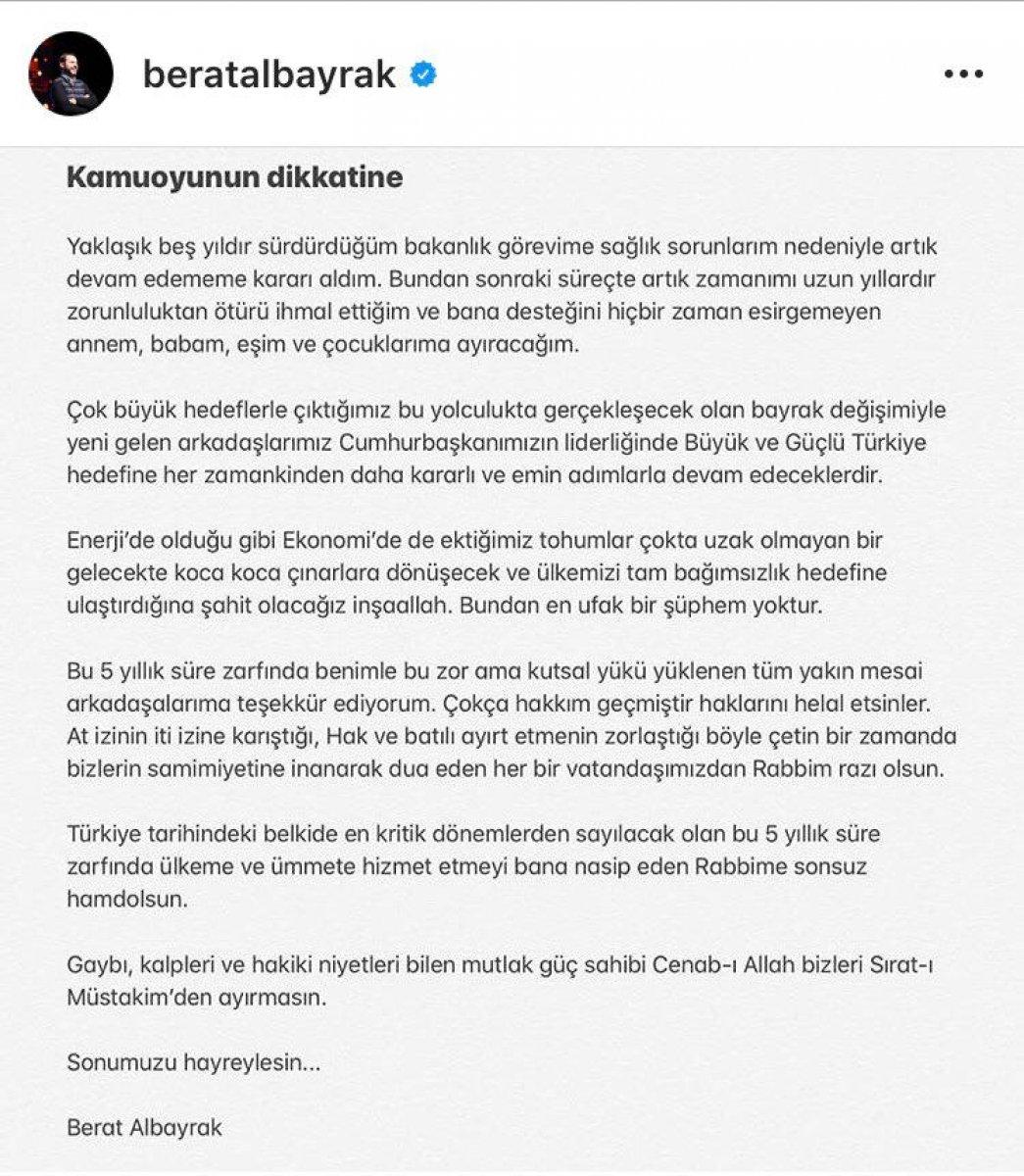 Berat Albayrak, bakanlık görevinden istifa etti  #1