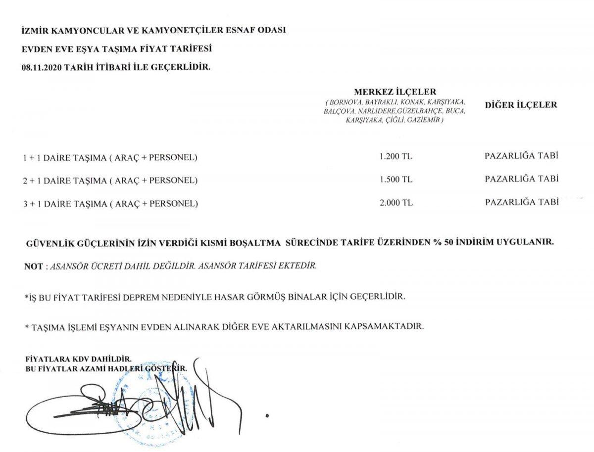 İzmir'de taşınma ücretleri belirlendi: En yüksek fiyat 2 bin lira #1