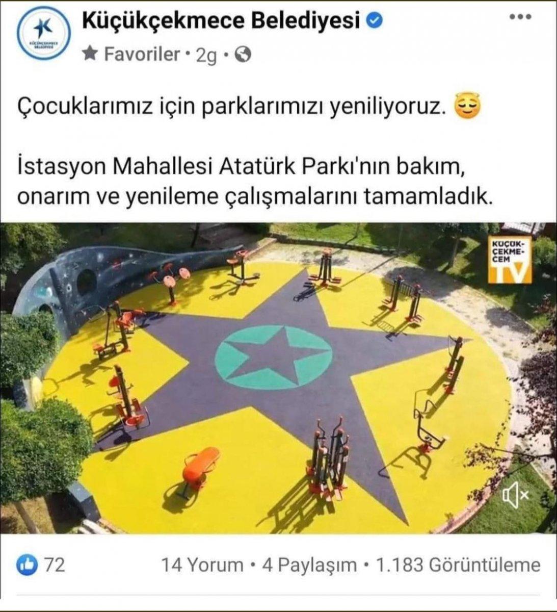 CHP li belediyenin yenilediği parkta YPG paçavrası #3