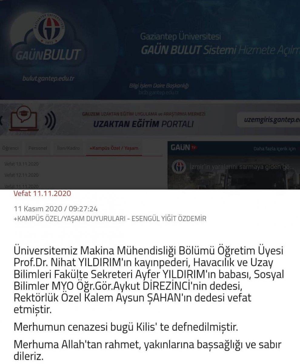 Gaziantep Üniversitesi ndeki akraba ilişkileri vefat ilanıyla ortaya çıktı #1