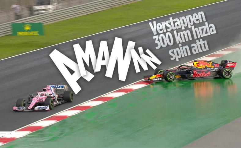 Verstappen 300 km hızla spin attı