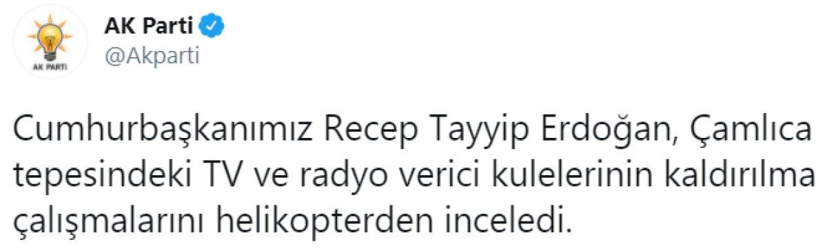 Cumhurbaşkanı Erdoğan, Çamlıca daki kulelerin kaldırılma çalışmalarını inceledi #1