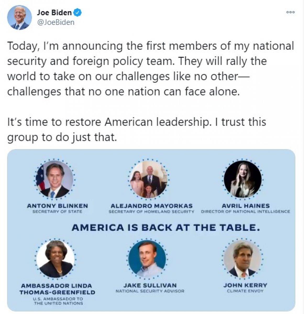 Yeni ABD Başkanı Joe Biden kabinesini oluşturmaya başladı #1