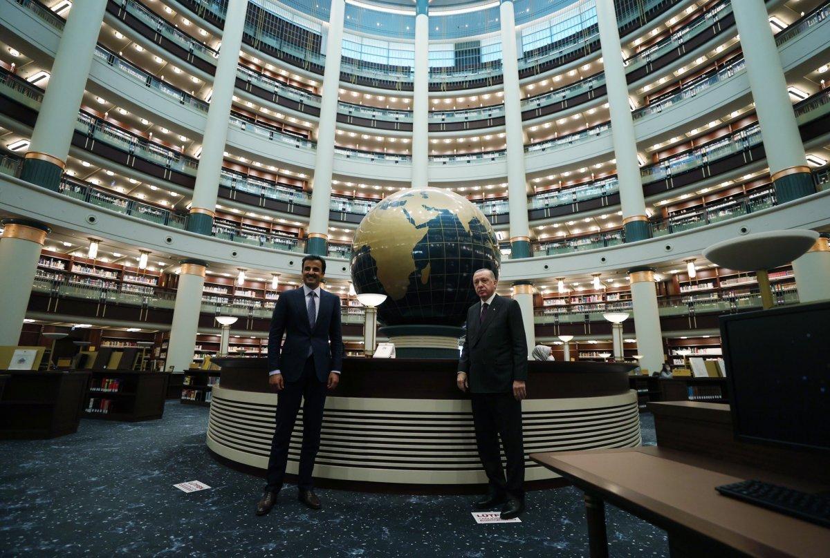 Cumhurbaşkanı Erdoğan, Katar Emiri Al Sani ile Millet Kütüphanesi ni gezdi #1