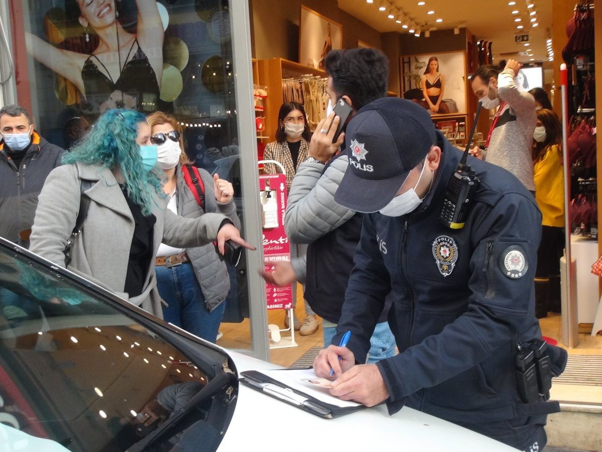 İstanbul da maske cezasından kaçan kadından polislere: Siz şov yapıyorsunuz #2