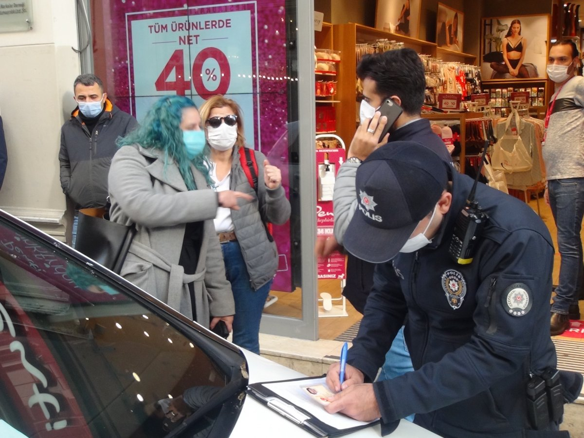 İstanbul da maske cezasından kaçan kadından polislere: Siz şov yapıyorsunuz #3