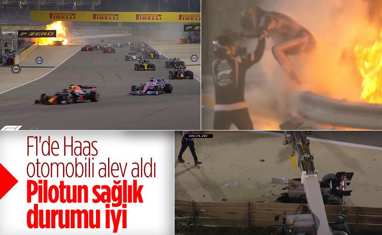 Formula 1 Bahreyn GP'de Grosjean'ın aracı alev aldı