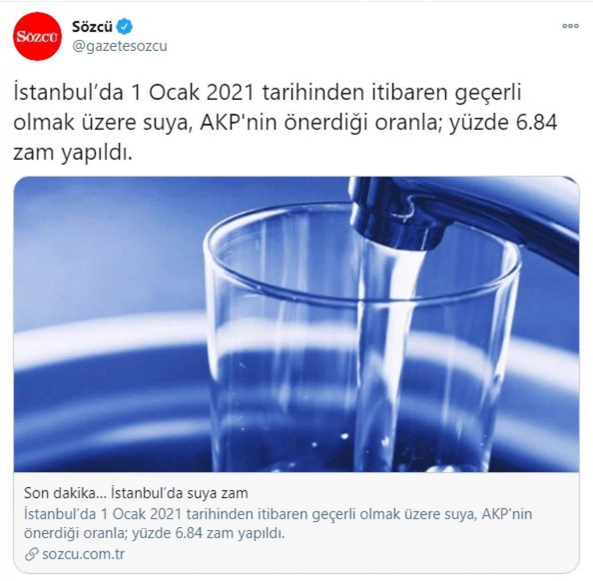 Sözcü, CHP'nin suya zam istediğini yazamadı #2