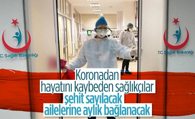 Koronadan ölen sağlıkçıların yakınlarına aylık bağlanacak