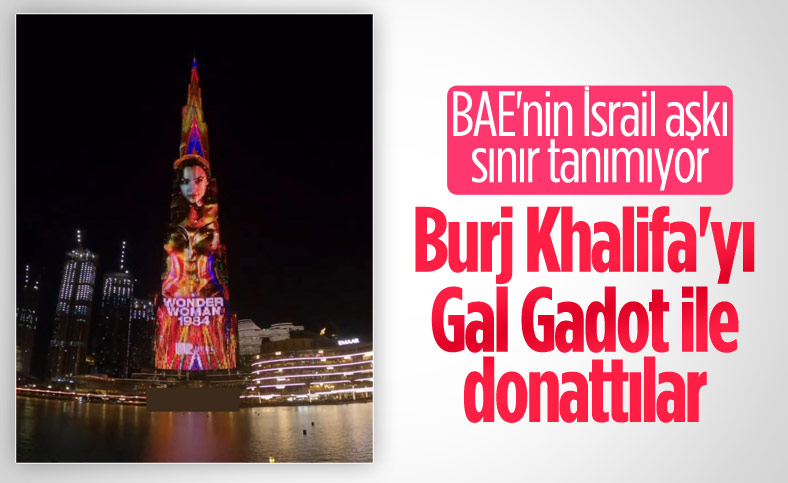 Burj Khalifa'ya İsrailli aktris Gal Gadot'lu Wonder Woman yansıtıldı